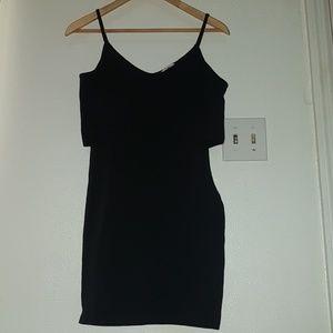 Charlotte Russe Peep Shoulder Black Cotton Dress